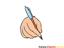 Hand mit Kugelschreiber Illustration, Bild, Clipart gratis