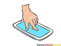 スマートフォンのイラスト、画像、無料クリップアートと手