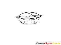 Lippen Zeichnung schwarz weiss