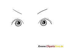 開いている目のクリップアート、画像、デッサン、グラフィック