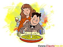 カップル、男と女のカジノルーレットで遊ぶクリップアート、イラスト、画像
