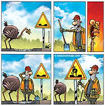 Comic Strauss auf der Baustelle