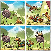 Comic Strauss und Hühner