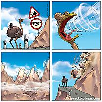 Dağlarda komik şerit kuş devekuşu