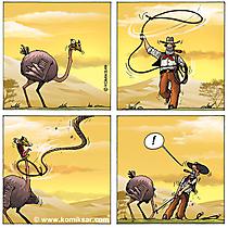 Comicstrip Cowboy und Strauss