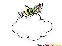 Biene auf 7 Wolke Clipart, Cartoon, Bild, Grafik