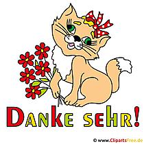 かわいい猫と感謝祭カード - ありがとうクリップアート