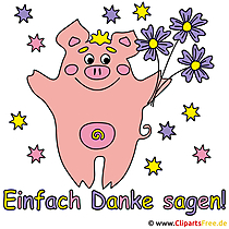 Danksagungskarte  Schweinchen mit Blumen