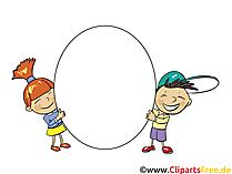 子供たちは白い背景の上に空白記号を保持します。