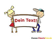 Kinder halten Plakat zum Beschriften Clipart, Bild, Illustration