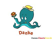 Krake Clipart Dankeskarte gratis