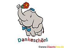 面白い象のイメージ、クリップアート - ありがとうカード