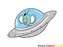 Alien fliegt im Ufo Cartoon, Clipart, Bild, Illustration