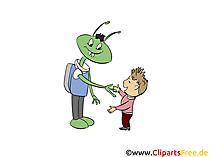 Alien und Kind begrüßen einander Bild, Clipart, Illustration