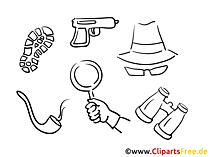 Detektei Clipart, Bild, Buchillustration, Grafik, Cartoon