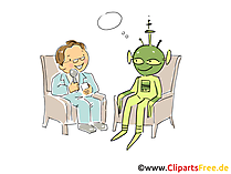 Interview mit Alien Cartoon, Clipart, Bild, Illustration