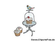 Kuchen und Vogel Bild, Clipart, Illustration, Grafik kostenlos