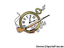 Pfeie und Uhr Bild, Clipart, Illustration, Grafik kostenlos