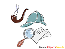 Sherlock Holmes Detektiv Clipart, Illustration, Bild