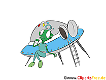 Ufo mit Alien Clipart, Comic, Bild, Illustration