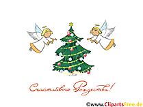 Рождественская ёлка и ангелы клипарт, открытка на Рождество