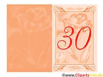 Glückwunschkarte zum 30. Geburtstag gratis drucken