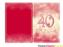 Glückwunschkarte zum 40. Geburtstag kostenlos drucken