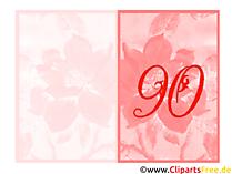 Glückwunschkarte zum 90. Geburtstag gratis drucken