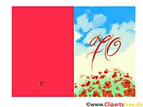 Runde Glückwunschkarte 70 Jahre Geburtstag