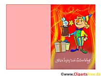 Klappkarte zum Kindergeburtstag mit Clown kostenlos drucken