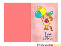 Mädchen Kindergeburtstag Glückwunschkarte kostenlos