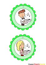 Kindermedaillien Musik, Geburtstag, Party kostenlos zum Drucken