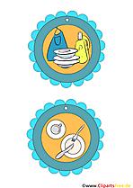 Mitgearbeitet Medaille, Geschirr spülen