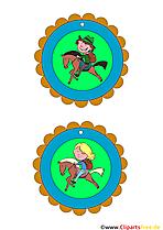Reiten, Pony, Pferde Kindermedaillien Vorlagen