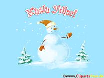 Kardan adam. Kar yağıyor. Kar taneleri. Kış illüstrasyon. El çizimi. Mutlu Noeller