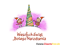 Życzenia bożonarodzeniowe po polsku clip art, kartka
