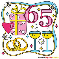65 Jahre Eiserne Hochzeit - Cliparts