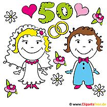Einladung Goldene Hochzeit kostenlos gestalten mit lustigen Cliparts