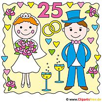 銀の結婚式のクリップアートおめでとう