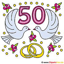 Wedding Jubilees  -  50ゴールドウェディングクリップアートカード