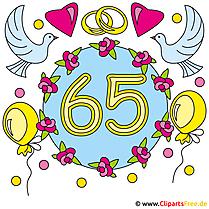 結婚記念日 -  65 Iron Weddingクリップアートカード
