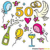 結婚記念日 -  50ゴールデンウェディング - グリーティングカード