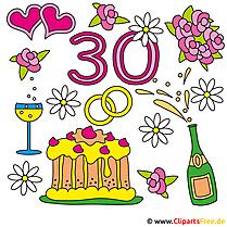 パールウェディング30結婚記念日のクリップアート画像