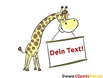 Grappige giraf met uithangbord, herinnering aan compliment, etiket