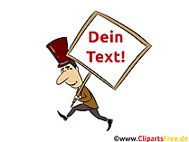 Mann zu Fuss mit Demoschild Clipart, Bild, Cartoon