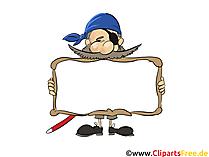 Piraat met frame voor labelafbeelding, clipart, illustraties