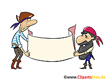 Piraat met een banner voor het labelen van clipart, afbeeldingen, afbeelding, illustratie