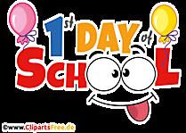 hari pertama teks sekolah agustus ilustrasi bahasa inggris, clip art, gambar