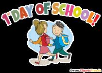 Första dagen i skolan - clipart med text på engelska