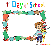 Hari Pertama di Bingkai Sekolah - Clipart dengan tema pendaftaran sekolah